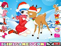 Christmas Girl Loves Reindeer