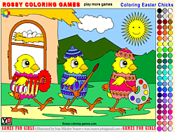 Coloring Easter Chicks – Rossy Coloring Games
